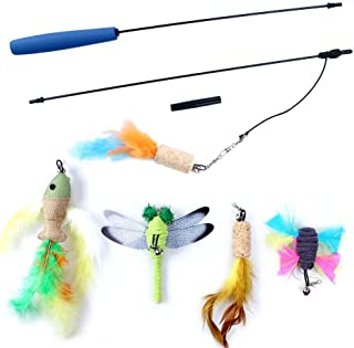 OWUDE Cat Feather Toy, Retractable Wand Toy 5 Replacement Head Each a Bell Cats Kitten