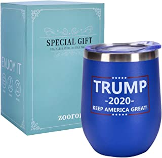 TRUMP -2020- KEEP AMERICA GREAT, Stainless Steel Wine Tumbler Glass with Lid,12 oz Stainless Steel Double Wall Vacuum Insulated Wine Cup Funny Gift for Best Friends, Coworkers For Supporting President
