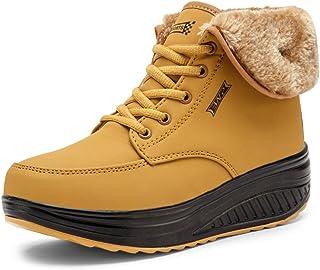 SAGUARO® Invierno Mujer Botas de Nieve Cuero Calientes Fur Botines Plataforma Bota Boots Ocasional Impermeable Anti Desliz...