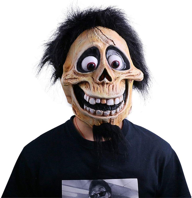 BESTHOO Mask Terror Teufel Maske Perücke Hut Kopfschmuck Vollgesichts Latex Halloween Kostüm Party Cosplay Requisiten (color   , Size   )