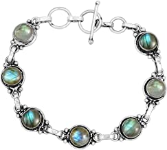 Delicate Jewelry 450161 Faceted Labradorite Spike Handmade Magnetic Turquoise and Labradorite Bracelet with Gold Chain and Clasp