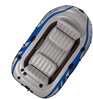 WUBAILI Carga 400Kg Kayak Inflable para 4 Personas, Bote De Pesca De Remo Inflable, con 2 Soportes De Paleta Y Bomba De Aire Eléctrica para Pesca, Buceo