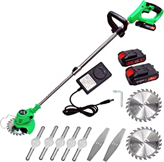 Cordless Grass Trimmer Lawn Mower Electric Garden Handheld Strimmer with 24V Lithium-ion Battery, 2 Blades, 850W Motor