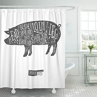 Emvency Shower Curtain White Pig American Cuts of Pork Vintage Typographic Hand Drawn Butcher Scheme Diagram Shower Curtains Sets with Hooks 60 x 72 Inches Waterproof Polyester Fabric