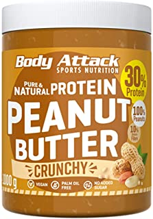 Body Attack Peanut Butter - 30% Protein Sugar & Fat Free Crunchy 1 kg