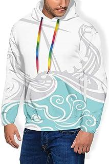 GULTMEE Men's Hoodies Sweatershirt, Viking Longship Sailing into The Waves with Scandinavian Shields Retro Display,5 Size