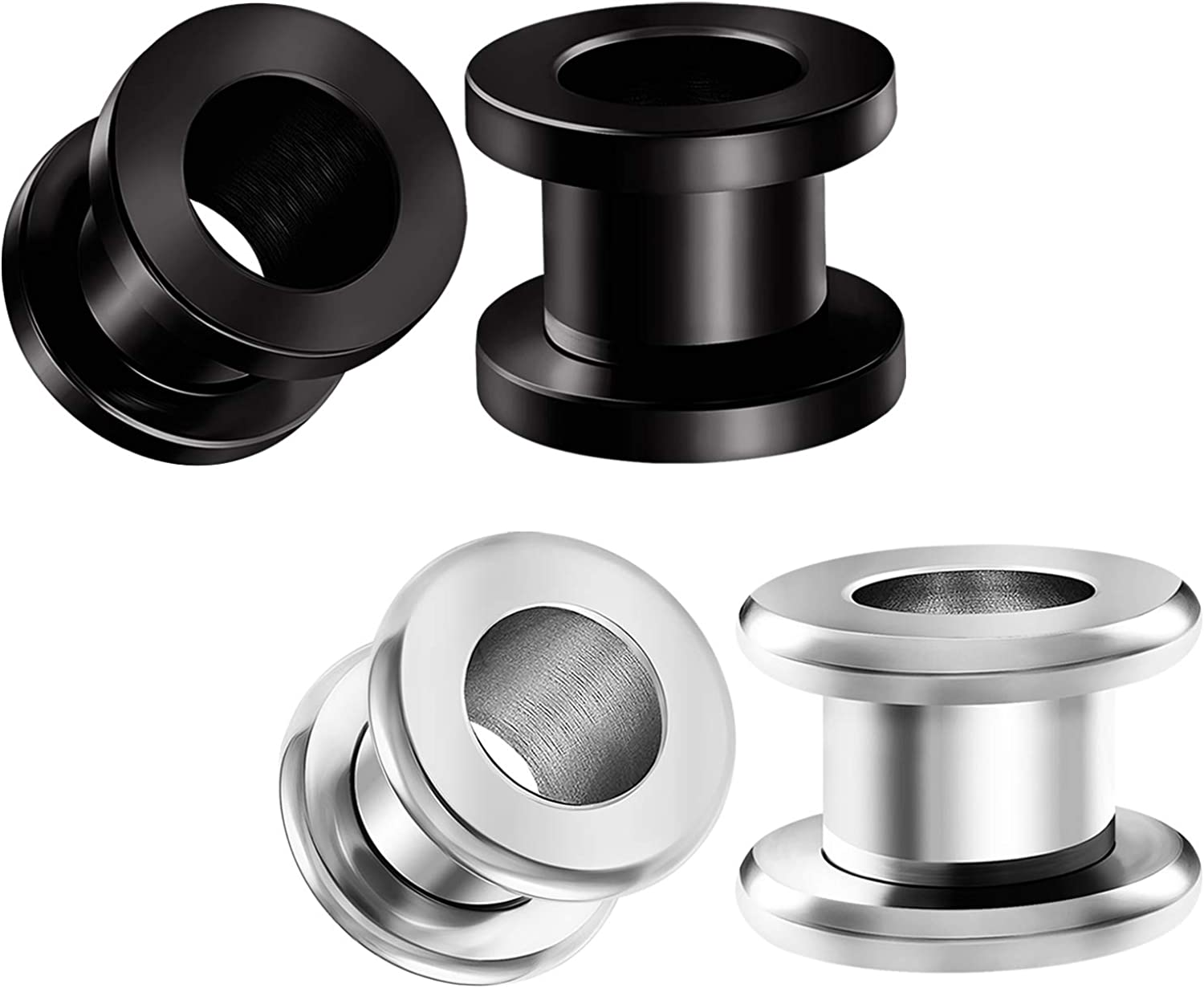 BIG GAUGES 2 Pairs 316L Surgical Steel Black Anodized Screw Flesh Tunnels Piercing Jewelry Stretcher Ear Rounded Plugs Earring Lobe