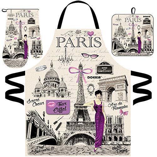 DOKKIA Womens Kitchen Chef Cooking Baking Paris Print Bib Apron Oven Mitt Glove and Pot Holder Set (Paris Eiffel Perfume Lipstick Kiss Lady)