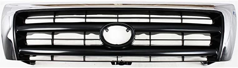 Grille Compatible with Toyota Tacoma 98-00 Chrome Shell/Painted-Dark Argent Insert 2WD/4WD W/Pre-Runner