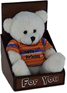 Happy 21st Birthday Bear Soft Plush Toy, 14 Centimeters