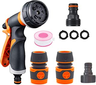 Garden Hose Sprayer Nozzle for Watering Plant Cleaning Cars Showering Pets with 8 Adjustable Pattern High Pressure Heavy D...