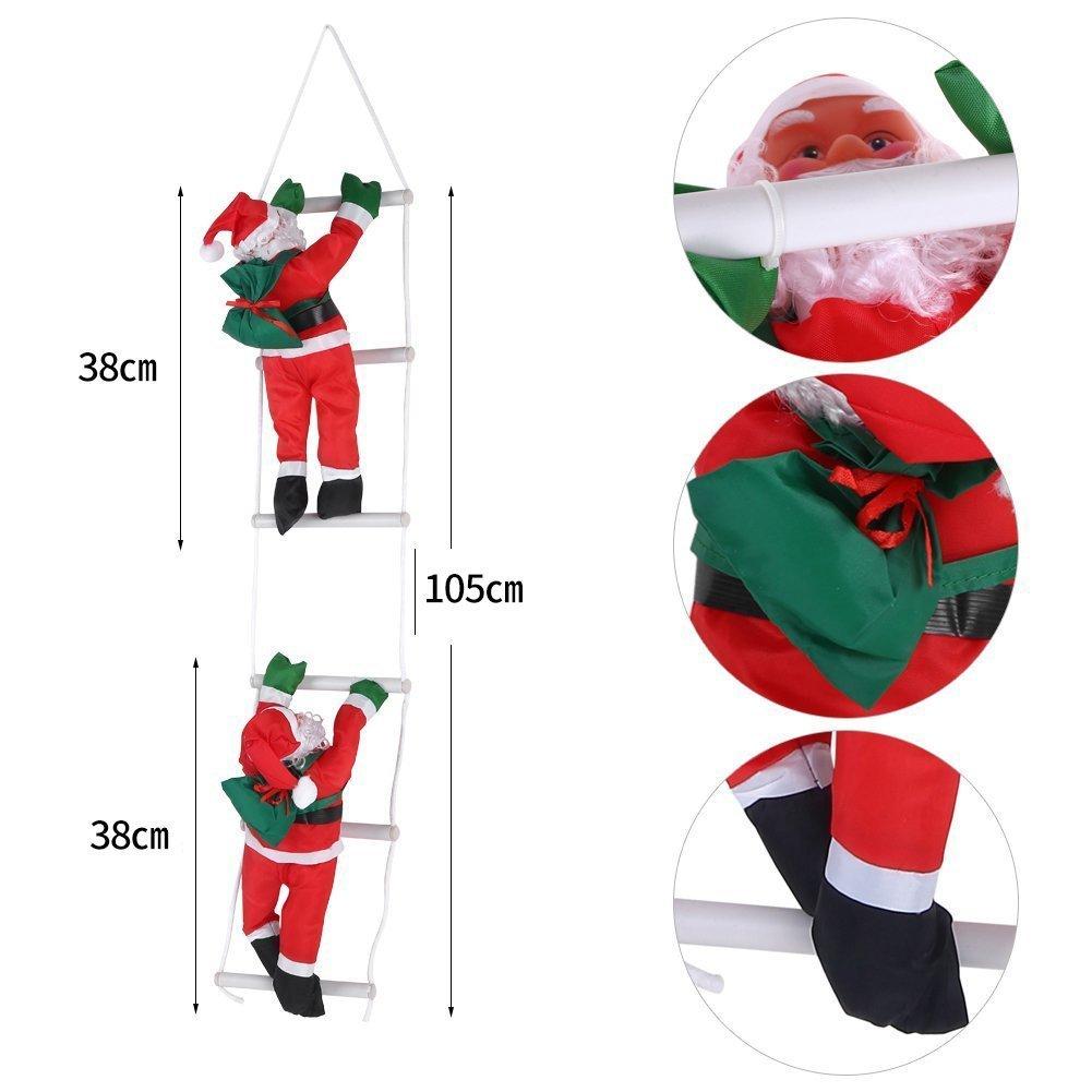 Dos de Papá Noel en escalera de cuerda de escalada para interior y exterior Árbol de Navidad ornamento colgante decoración Navidad Xmas Party Hogar Puerta Pared Decoración: Amazon.es: Hogar