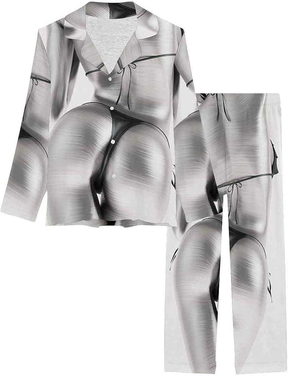 InterestPrint Button Down Nightwear Soft Long Sleeve Pj Set Black and White Metallic Body