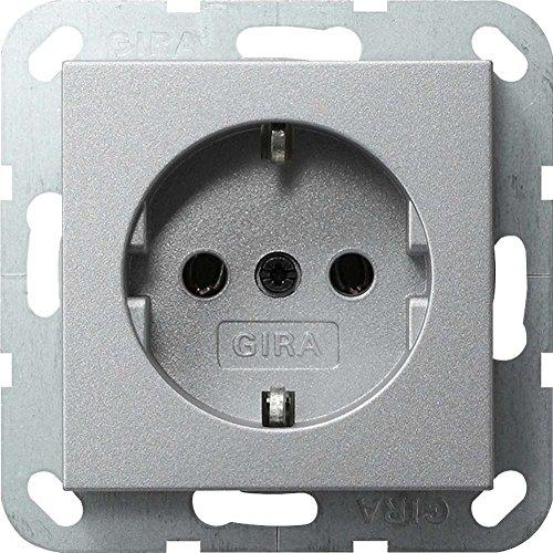 Gira Steckdose SCHUKO 018826 System 55 Farbe Alu, 250 V, Aluminium