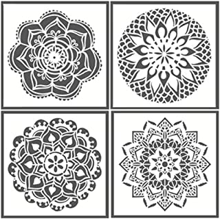 Mandala Reusable Stencil Set of 4 (7.9x7.9 inch) Painting Stencil, Laser Cut Painting Template for DIY Decor, Painting on Wood, Airbrush, Rocks and Walls Art