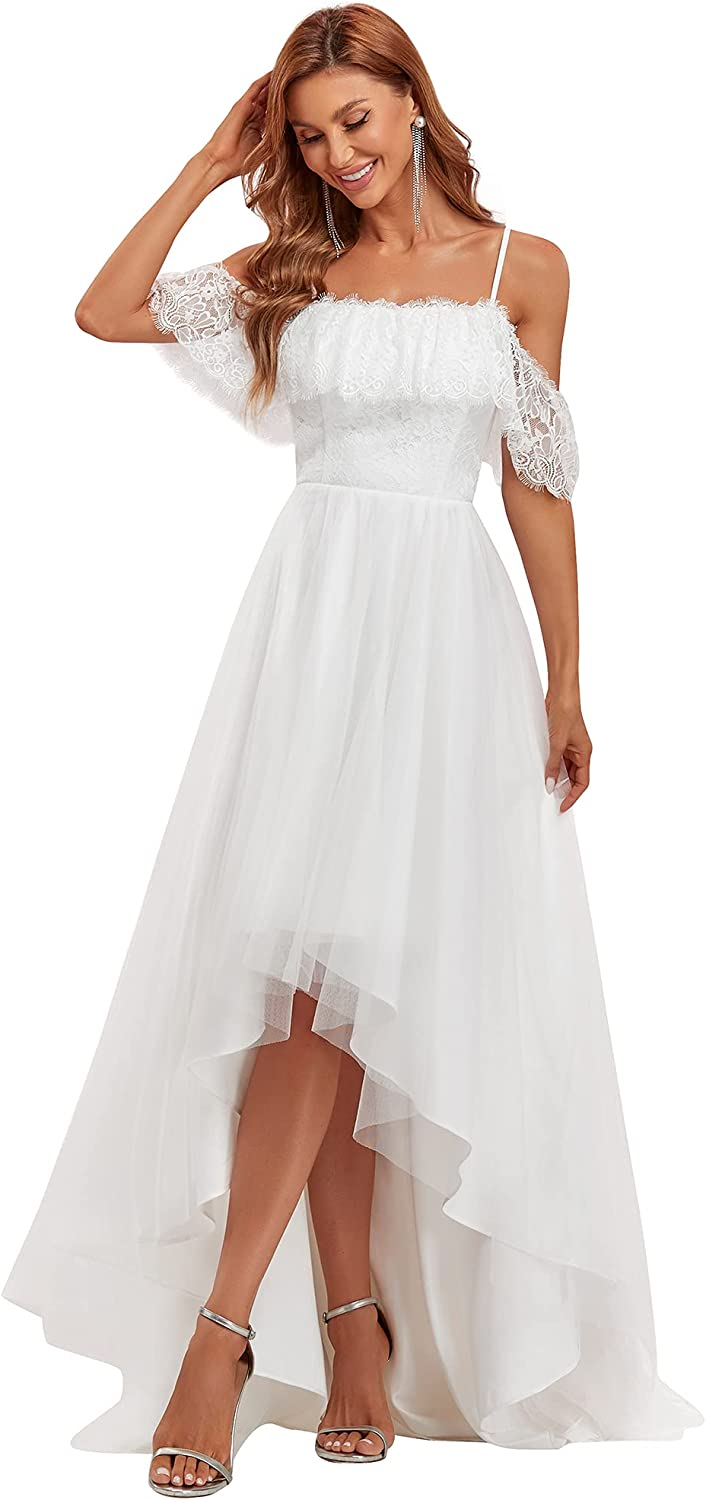 Ever-Pretty Women's A Line Off Shoulder High Low Spaghetti Straps Lace Wedding Dress for Bride 2021 90340