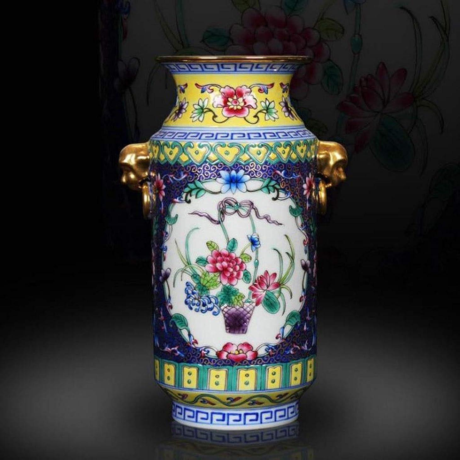 論争的気難しい言語花瓶 優れた磁器景徳鎮陶磁器庭の装飾資本ルームアクセサリークラシックスタイルエナメル磁器 インテリア フラワーベース