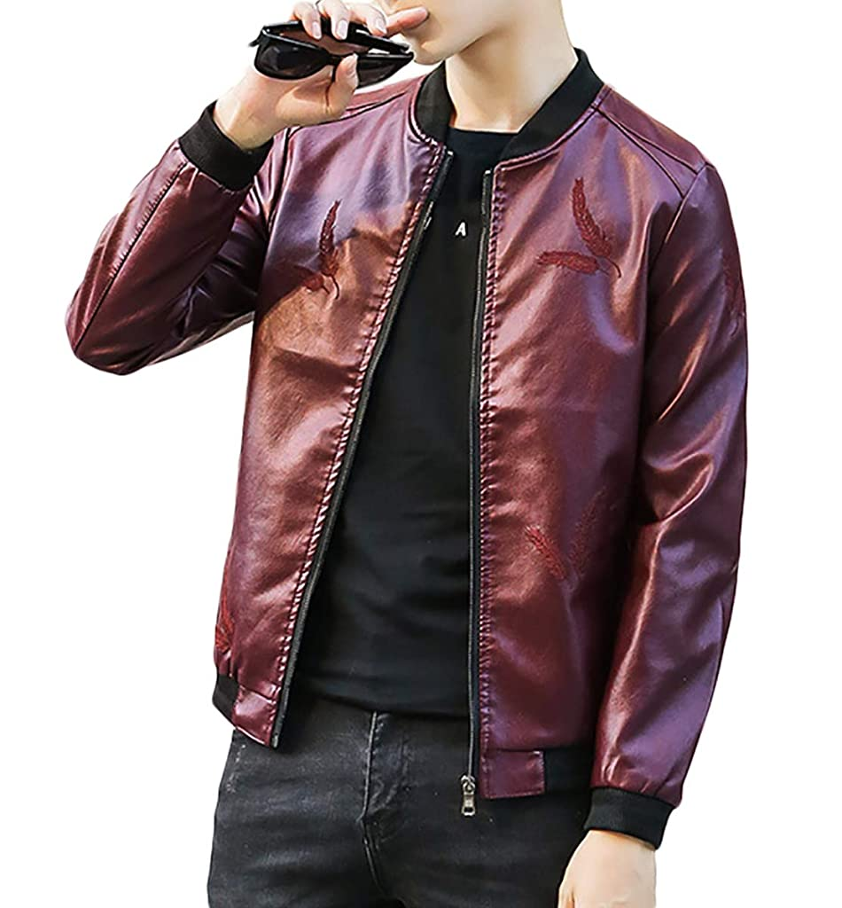 特別な明確な葉[meryueru(メリュエル)] フェザーポイント レザー ジャケット スタイリッシュ シルエット カジュアル コーデ メンズ