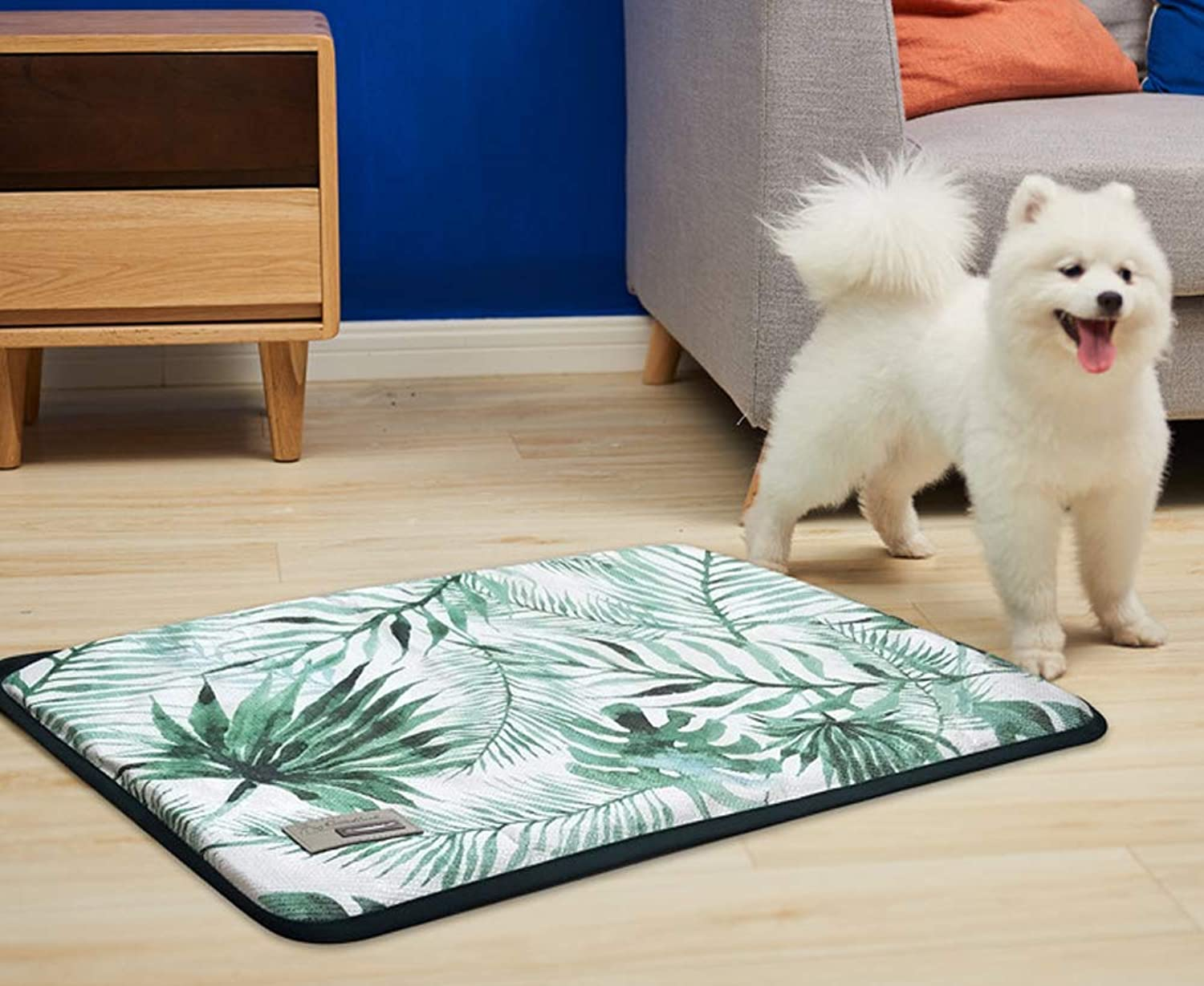 Pet Mat Insulation and Breathable, Fully Removable and Washable Pet Ice Silk Mat Large and Medium Sized Kennel (25  18.5, B)