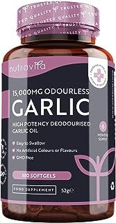 Cápsulas de Ajo sin Olor de Alta Potencia 15000 mg - 180 Cápsulas blandas de gelatina de Aceite...