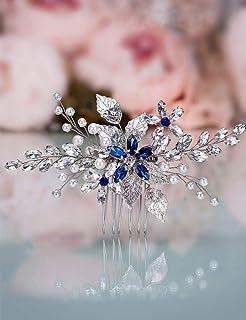 Aimimier Bridal Sapphire Crystal Hair Comb Pearl Blue Crystal Leaf Marquise Hair Piece Prom Party Festival Wedding Hair Ac...