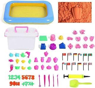 Hamkaw Sand Play Set Non-Toxic Sand Playset for Kids with 72 Sand Molds, 45 Sand Trays, 4.4 lbs Sand