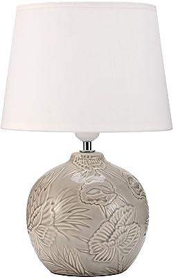 Pauleen 48216 lampe à poser Tender Love max. 20Watt faite à la main blanc, gris Lampe de chevet de look boho en tissu, céramique E27