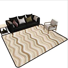 Household Decorative Floor mat,Wavy Curvy Lines Flowing in Vertical Direction Swirl Energy Motion Inspired 6'6