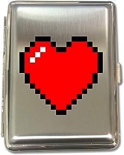 8-Bit Heart Video Game - Metal Kings Size Cigarette Case Holder Brushed Chrome Slim 16 Cigs Design Spring - Birthday, Bachelor, Party, Weddings, Gift