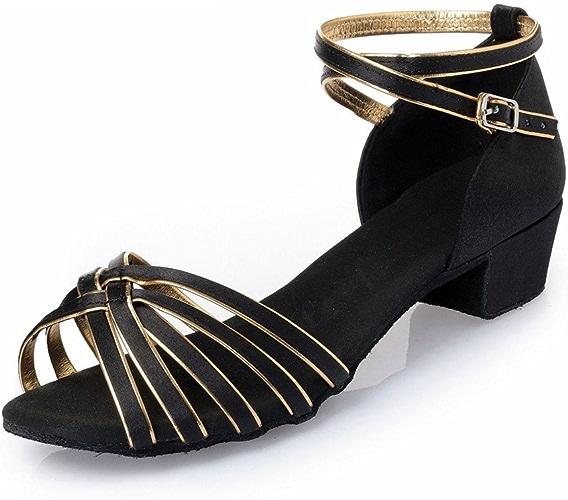BYLE Sangle de Cheville Sandales en Cuir Chaussures de Danse Modern'Jazz Samba Chaussures de Danse Latine Chaussures de Danse Latine d'enfants Adultes Fond Mou Noir Or Partie Square 40