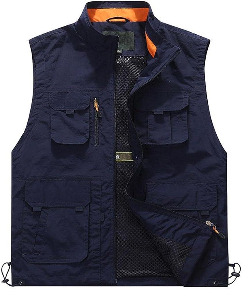 YANXH Mens Multi Pockets Gilet Outdoor Multifunction Photography Traveling Vest, Dark Blue, 5XL