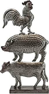 OBI Farm Animal Stack Metal Stand - Farmhouse Trio Rooster, Pig, and Cow Sculpture - Rustic Vintage Country Barn Yard Desktop Tabletop Shelf Home Decoration