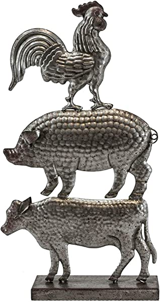 OBI Farm Animal Stack Metal Stand Farmhouse Trio Rooster Pig And Cow Sculpture Rustic Vintage Country Barn Yard Desktop Tabletop Shelf Home Decoration