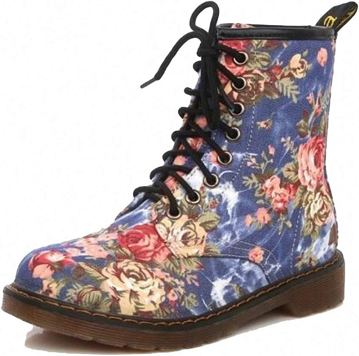 Kyle Walsh Pa Women Autumn Beautiful Flower shoes Lace-Up Motorcycle Cow Muscle Cowboy Flat Ankle Boots