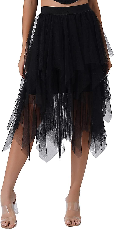 Duoremi Women's Asymmetrical Tulle A-Line Skirt Elastic High Waist Layered Prom Dancing Midi Skirts