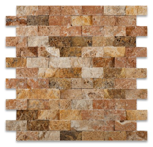 Scabos 1 X 2 Split-Faced Travertine Brick Mosaic Tile - Box of 5 sq. ft.