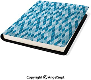 Stretchable PU Book Covers,Harlequin Winter Theme Pattern Elongated Squares Aquatic Colors Antique Italian Multicolor,9