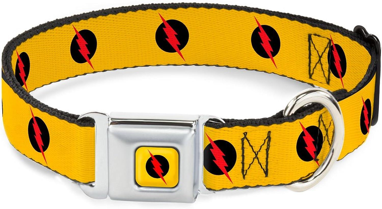 BuckleDown DCWFL011WL Dog Collar Seatbelt Buckle, Yellow Black Red, 1.5  by 1832