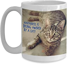Happiness is Being Owned By A Striped Cat on Coffee Cup