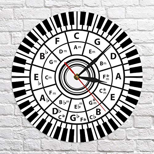 WYJIE Tasti del Pianoforte Orologio da Parete Musicista Circle of Fifth Music Harmony Theory Music Study Composer Classroom Wall Decor Orologio da Parete Moderno