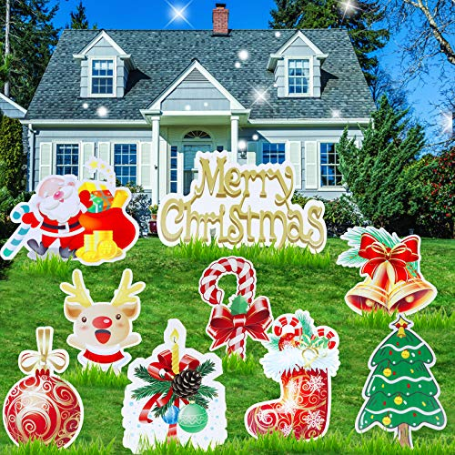 9 Pack Christmas Yard Signs Stakes Decorations - Large Size Christmas Yard Signs for Lawn Holiday Decorations, Christmas Holiday Decorations Signs