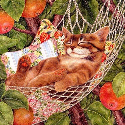 Kat Hangmat Onder De Fruit Boom 5D DIY Diamant Tekenen Volledige Boor Ronde Boor Kruissteek Kristal Strass door Nummer Plakken Lijm Schilderen 40cmx50cm 40cmx50cm