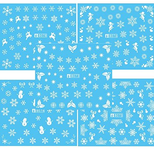 LUOEM Nail Art Aufkleber Sticker Nail Decals Schneeflocke Design Packung von 5