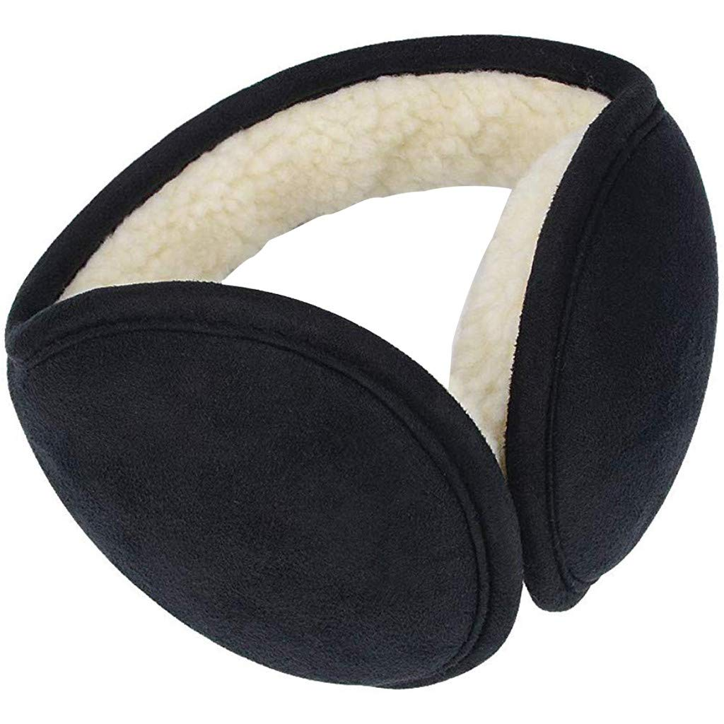 Atezch Ear Muffs Winter Ear warmers Foldable Earwarmer Mens Womens Behind the Head Band (Black)