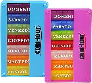 COM-FOUR® 2x medicijndispenser in ITALIAANS - medicijndoos voor 7 dagen - 3 compartimenten - pillendoosje - pillendoosje -...