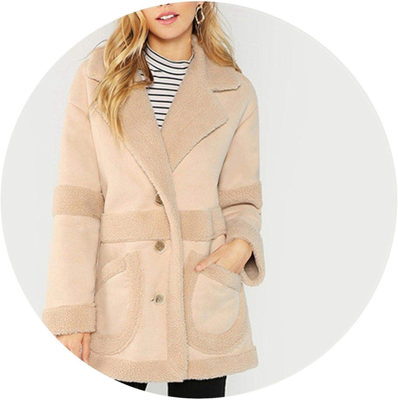 Summerlavender Elegant Pocket Front Faux Teddy Single Breasted Coat Women Coats Outerwear
