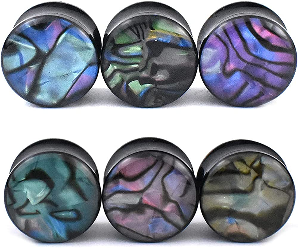 Jboyanpei 12Pcs 6pair Tampa Mall Surprise price Colored Shell Gauges Pattern a Ear Tunnels