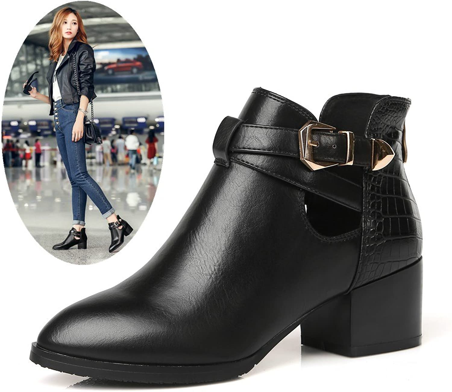 AnMengXinLing Women Low Heel Ankle Leather Boots Fashion Buckle Chunky Heel Pointed Toe Slip On Chelsea Boots