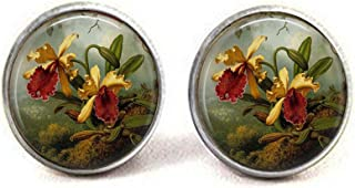 luobdj Vintage Yellow Orchids - Robert Thornton - Botanical Jewelry - Flower Earrings - Bee Charm - Orchid Lover Gift - Orchid Earrings