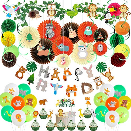 Popuppe 59 Stück Waldtiere Geburtstagsdeko, Happy Birthday Banner, Tiere Hängende Deko, Luftballons, Tortendeko für Babyparty Geburtstagsparty Dekoration